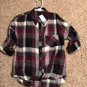 Cotton, button down, twist front blouse
